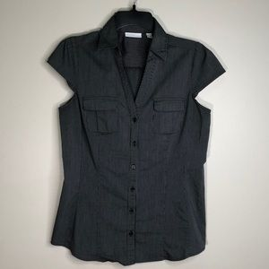 New York & Company Pinstripe Button Down Top